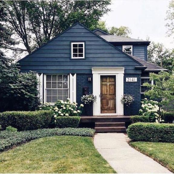 Slate Blue Exterior Color With Natural Wood Door Mountain Home Exterior House Exterior House Colors