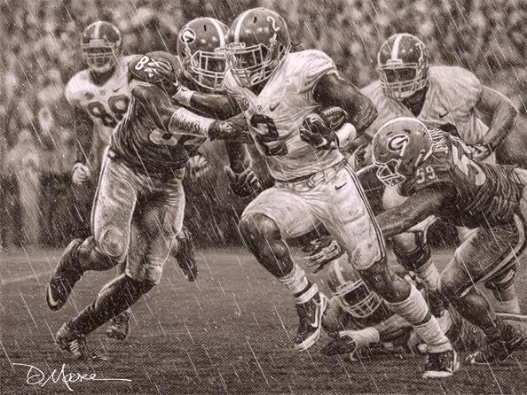 'The Washout' By Daniel A. Moore - pencil sketch - Derrick Henry #Alabama #RollTide #BuiltByBama #Bama #BamaNation #CrimsonTide #RTR #Tide #RammerJammer #ThirdSaturdayInOctober #DanielMoore