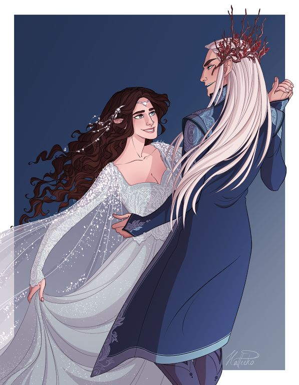 Rineth and Thranduil at Mereth Nuin Giliath - Stars of Varda, artwork by hatteeho
