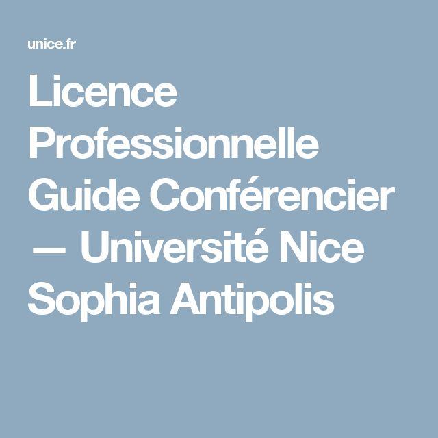 Licence Professionnelle Guide Conférencier — Université Nice Sophia Antipolis