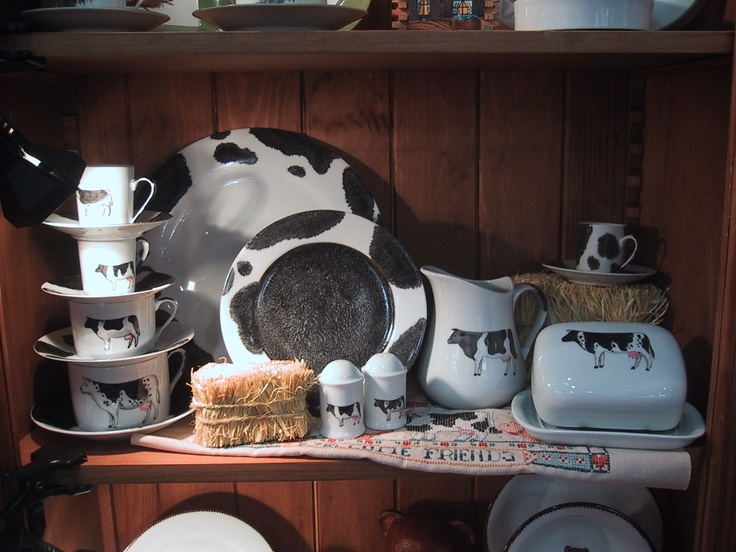 black and white collection: milk pot, butter box, salt and pepper, cups and saucers, and plates french farm! charger; dinner plate, dessert plate and coffee set hand painted - black and white- cottage - farm.,llttle cows Fragile Creation by Patricia Deroubaix  hand painted on Limoges porcelain