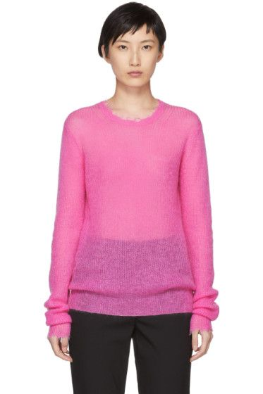 Sweater Weight Feather Crewneck Pink Lang Helmut Mohair pw0HvYwx