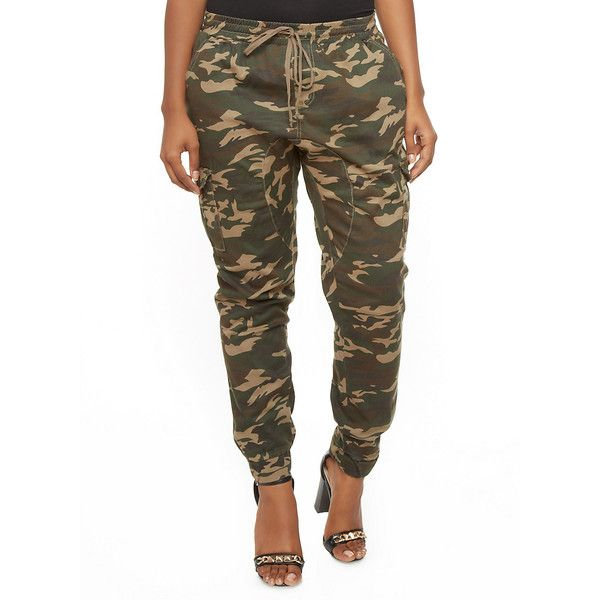 Plus Size Camo Cargo Jogger Pants With Drawstring Waist ($28) ❤ liked on Polyvore featuring pants, white camo pants, camo jogger pants, womens plus size cargo pants, plus size camo pants and camouflage pants