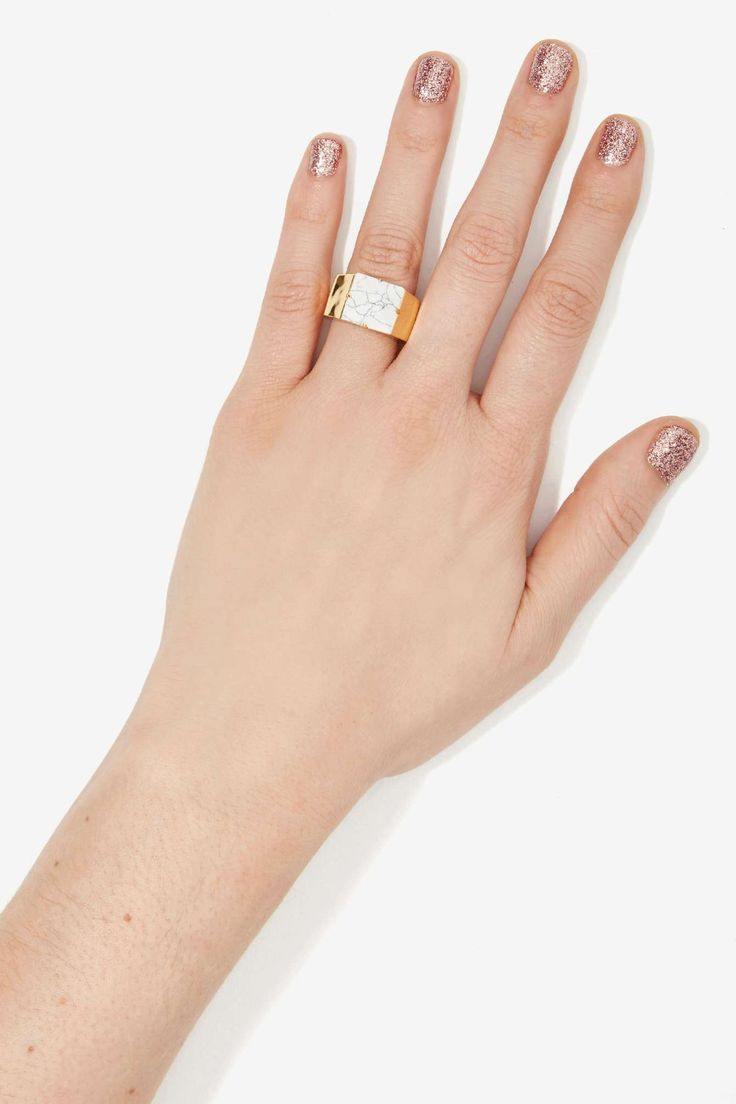 Luv AJ Marble Letterman Ring