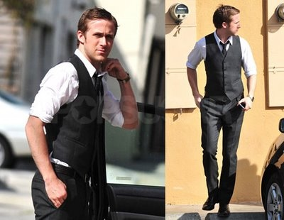 The other best thing on a guy (besides  beautifully tailored suits), is a beautifully tailored vest: Ryan Gosling, Jacket, What To Wear, Groom Outfit, Gosling Wear, Groom S Outfit