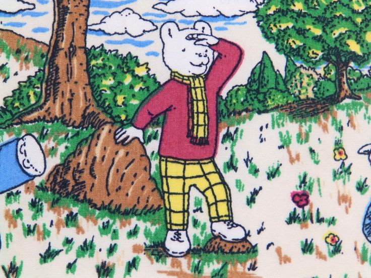 Rupert Bear vintage fabric - rare by RagRescue on Etsy