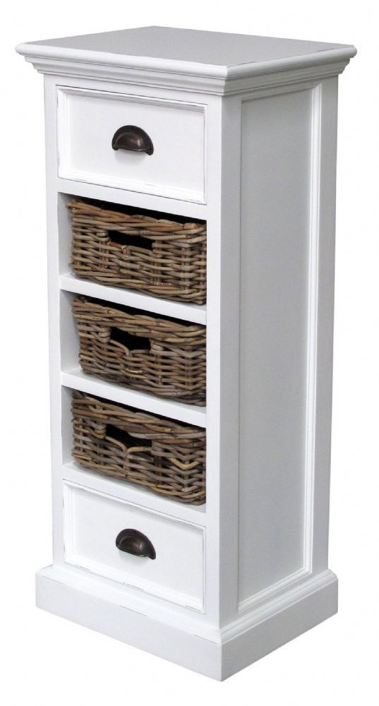 Expertly crafted built kiln dried mahogany the Belgravia Painted Medium Storage Unit with 3 Rattan  sc 1 st  My Web Value | Decoration ideas blog. & white wicker bathroom storage | My Web Value