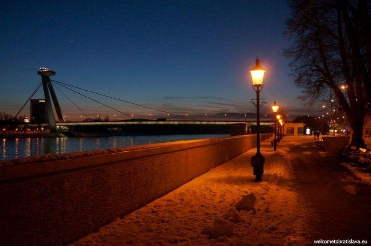 WINTER IN BRATISLAVA - WelcomeToBratislava | UFO bridge by night