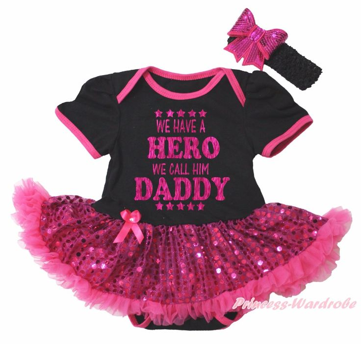 >> Click to Buy << 1ST Rubgy Ball Season We Have A Hero Call Daddy I'm Your Father Day Gift Black Bodysuit Hot Pink Bling Sequins Baby Dress NB-18M #Affiliate