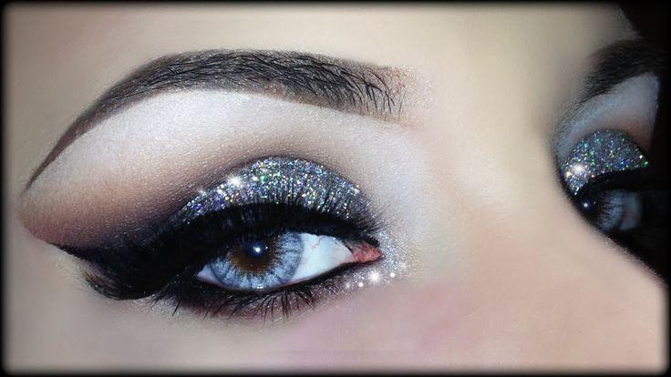 Sexy Christmas Cut Crease - 3D Silver Glitter Elegant Makeup Tutorial (T...