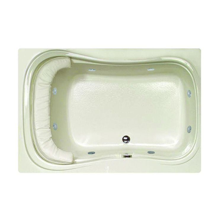 reversible drain whirlpool and air bath tub in biscuit