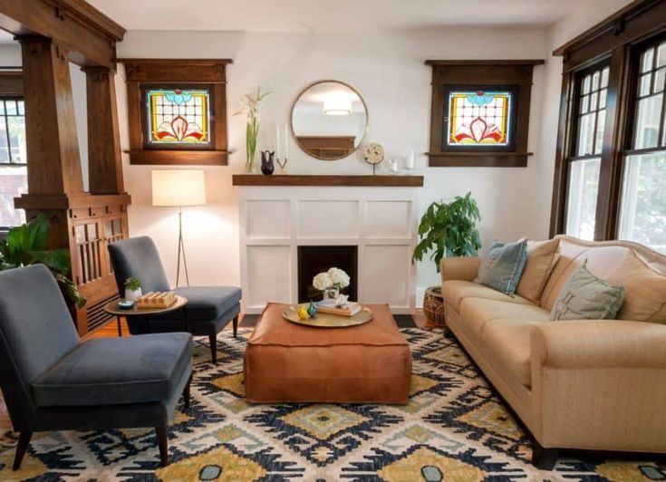 70 Craftsman Style Living Room Ideas Photos In 2020 Craftsman Living Rooms Craftsman Style Interiors Craftsman Bungalow Interior
