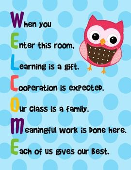 "These colorful 8.5 x 11 signs displays acrostics for the word ""welcome."" The theme centers around polka dots and owls. There are 4 versions including: Christ centered with teacher's name plate, Christ centered without teacher's name, student motivation with teacher's name plate, and student motivation without teacher's name.~Kimberly GilletteThis work is licensed under a Creative Commons Attribution-NonCommercial-NoDerivs 3.0 Unported License."