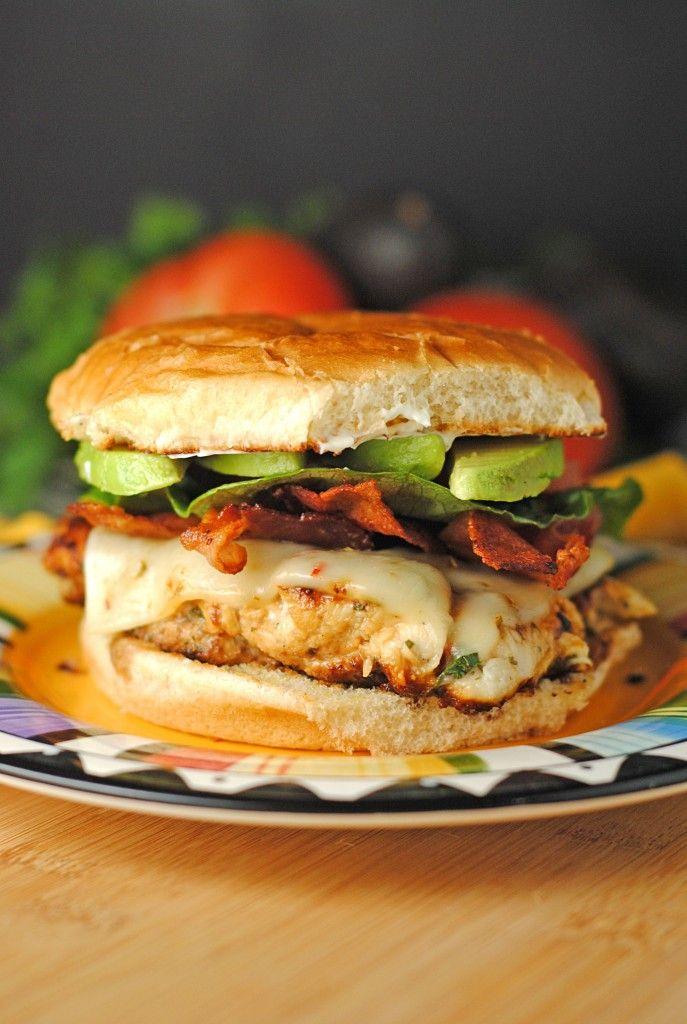 Cilantro Chicken BLAT Burger with Avocado Bacon Lettuce Tomato