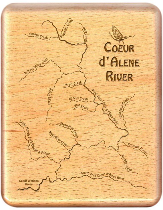 COEUR d ALENE Headwaters River Map Fly Box Custom Designed Laser
