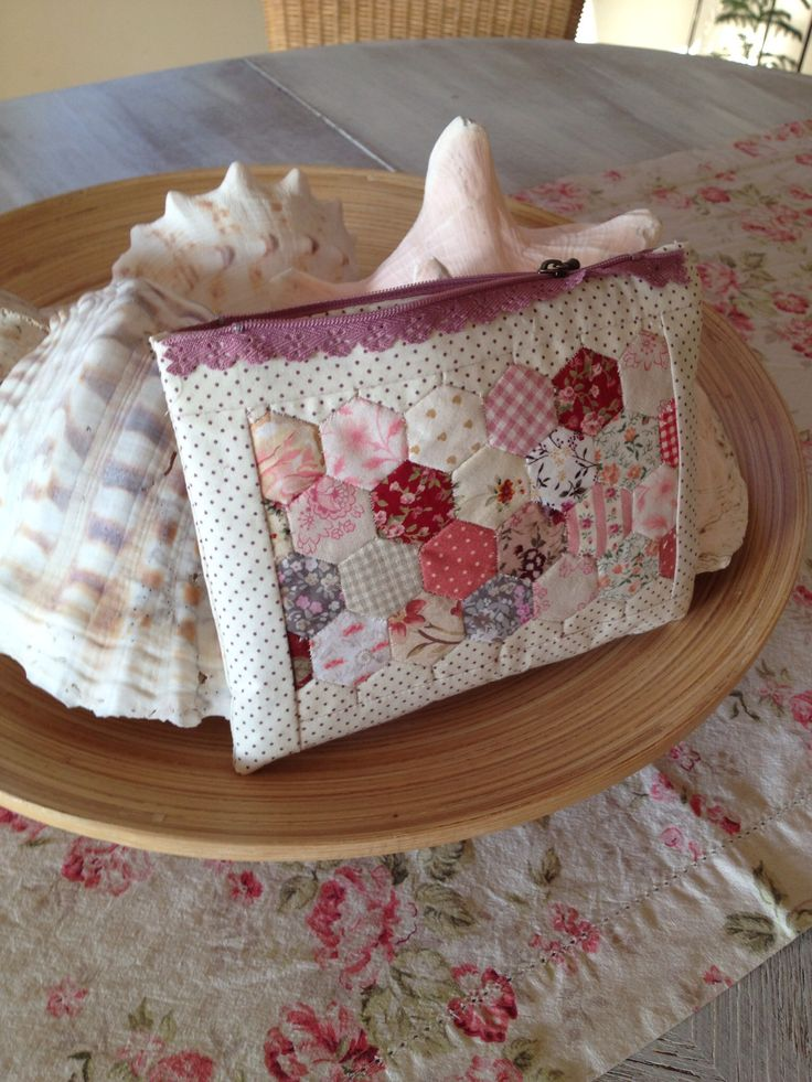 Pretty, little, hexagon-decorated. zippered bag.