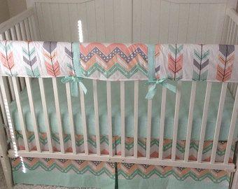 Baby Girl Crib Bedding Fawn Woodland Crib Set in Peach Coral