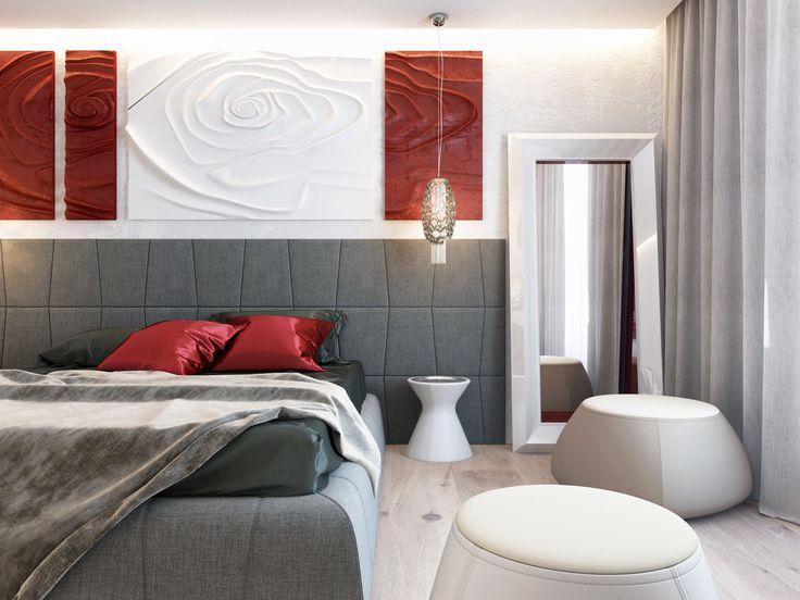 Идеальный пример стиля ар-деко в интерьере. Для спальни хозяйки дизайнер Динара Юсупова придумала гипсовую лепку над изголовьем кровати.