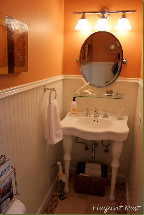 pedestal sink with double legs & white bead board for our tiny ...