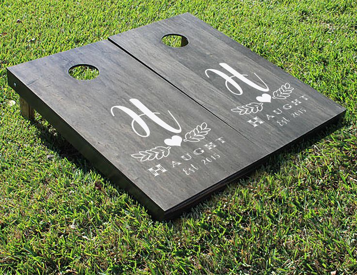 Monogram leaf heart with Name and Date Wedding cornhole boards