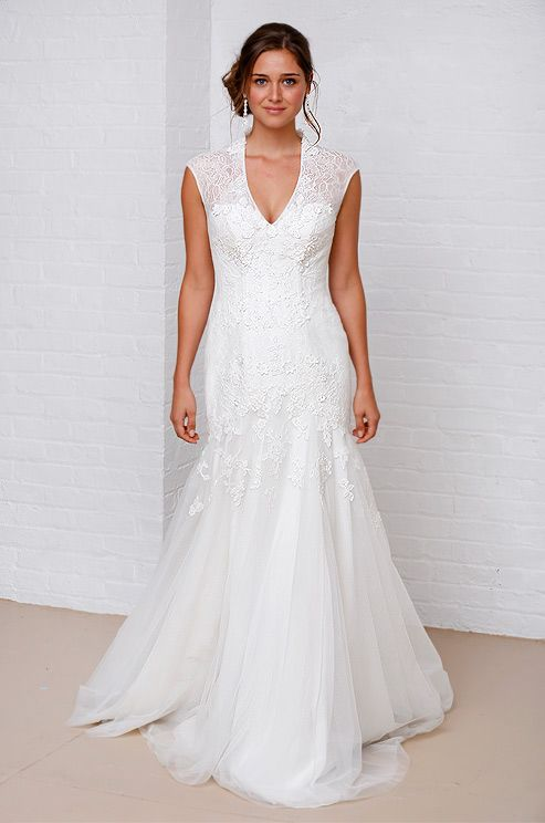 Melissa Sweet for David's Bridal wedding dress with straps/sleeves, Spring 2013