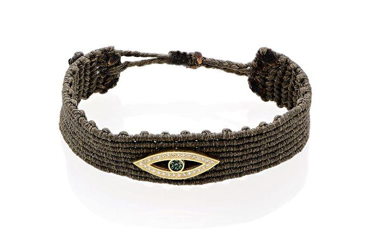 Βραχιόλι πλεκτό με λευκά και πράσινα cz από επιχρυσωμένο ασήμι 925. Knitted bracelet with white and green cz made by yellow gold-plated silver 925. Price: 110€