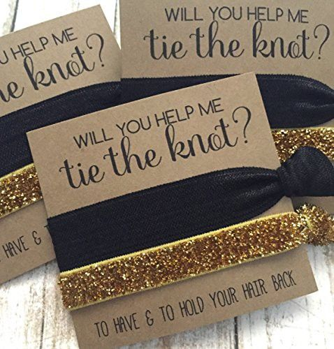Set of 5 Bridesmaid Proposal | Will You Help Me Tie The Knot | Hair Tie Favors (Solid Black, Gold Glitter)