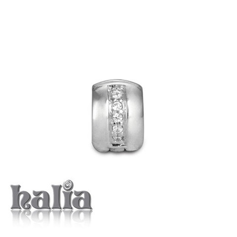 Cubic Safety Clip: An alternative safety clip adorned with dazzling high intensity cubic zirconia, for use with the Halia™ Diamond (Universal) Bracelet or Necklace.  Sterling silver, hypo-allergenic and nickel free.     $48.00