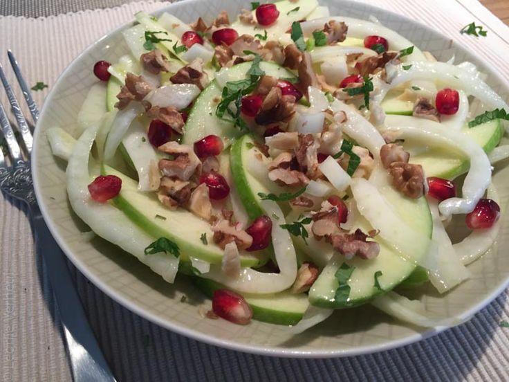 Salade met venkel, groene appel en granaatappel