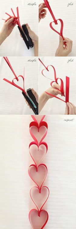 Another simple idea is to make a heart garland to drape on a mantle or entry table. This is a great, easy craft to do with the kids.