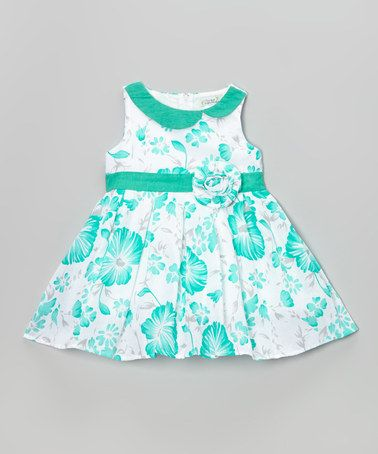 Look what I found on #zulily! Mint Rosette A-Line Dress - Toddler & Girls by Littoe Potatoes #zulilyfinds