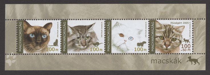 Hungary - 2005 Cat Souvenir Sheet of 4