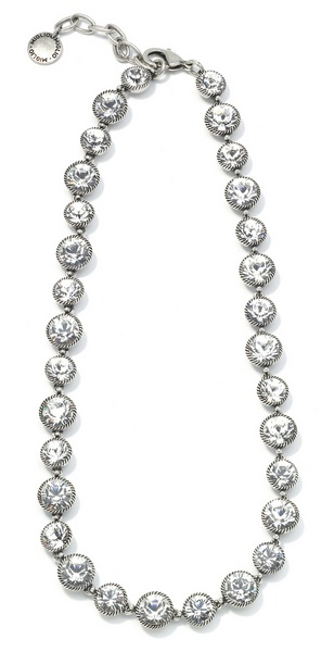 Captivating Swarovski crystal necklace in burnished silver. from Miglio