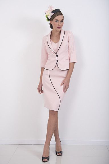 Blush Skirt –A fitted, lined cotton pique skirt with black piping design line that matches the Blush cami