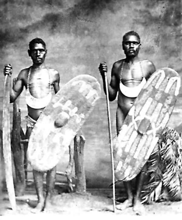 Aboriginal men with spears & shields: Ye-i-nie & Jagar 1905, King of Cairns & King of the Barron. Stratford Heritage Trail