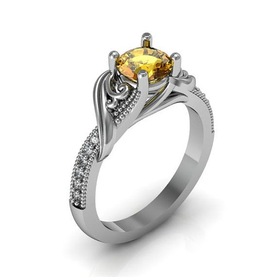 Fresh Classic Ladies Silver Art Deco Citrine and CZ Ring only