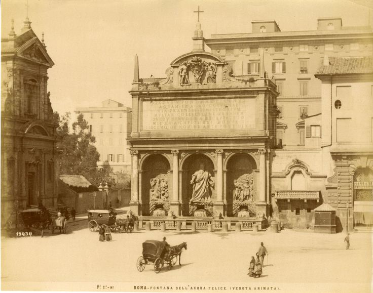 Italie, Roma, Fontana Acqua Felice Vintage albumen print Tirage albuminé 20x25 Circa 1875
