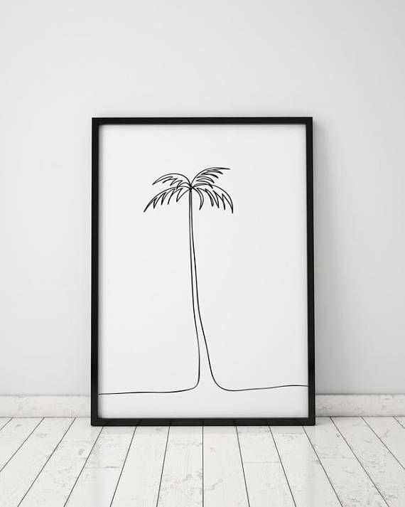 Palm tree print Single line drawing Abstract palm Tropical poster Minimalist line art Modern wall de – Etsy