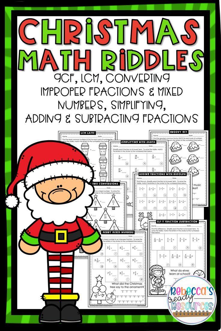 Christmas Fractions Math Riddles Christmas Math Worksheets Math Worksheets Math Riddles