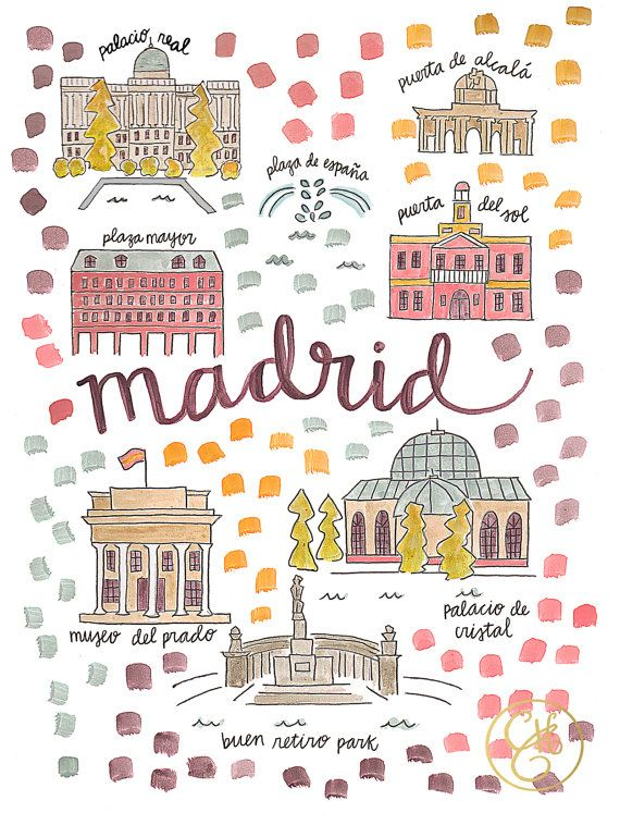 Madrid Map Print by Evelyn Henson