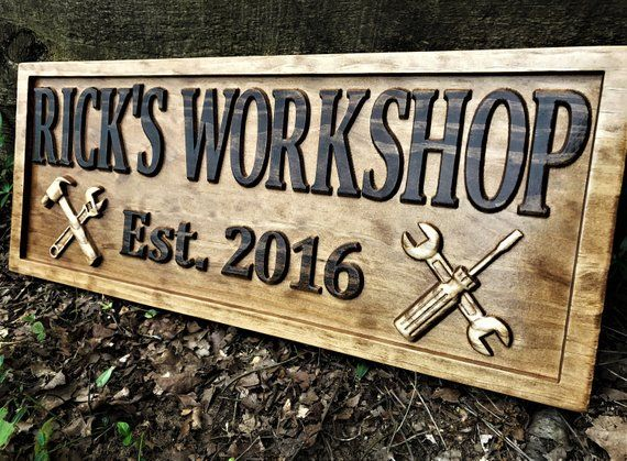 Gifts for Men Gifts For Him Husband Gift Custom Garage Sign Wooden Shop Sign Personalized Man Birthday Fathers Day Gift Wood Workshop Sign