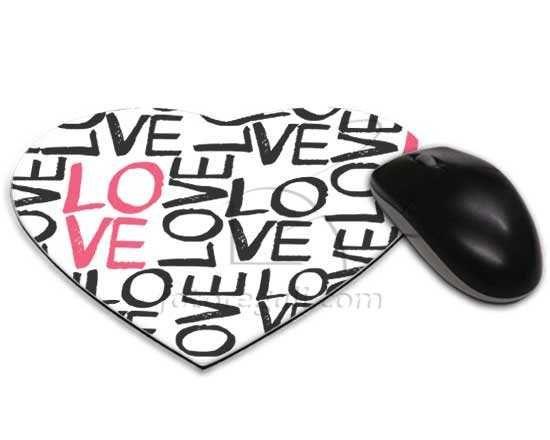 Mousepad cuore con scritte romantiche