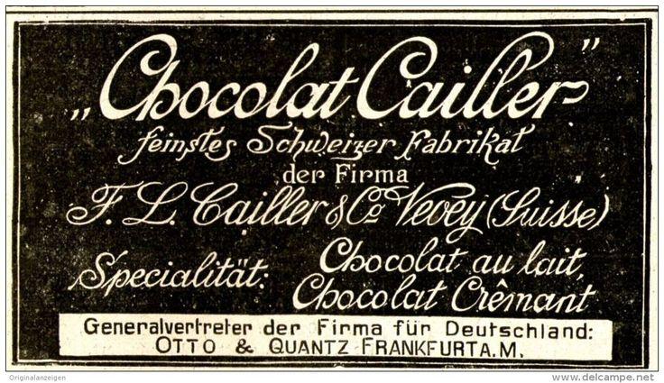 Original-Werbung/ Anzeige 1898 - CHOCOLAT CAILLER / VEVEY - OTTO & QUANTZ…