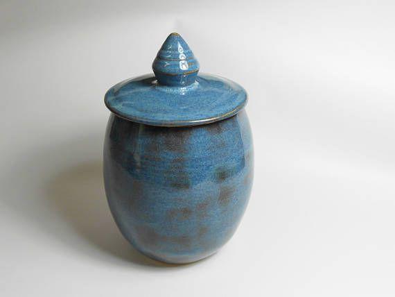 Keepsake urn  pet urn  blue pottery jar  burial urn  urn