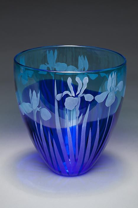 Blue Iris art glass by Cynthia Myers