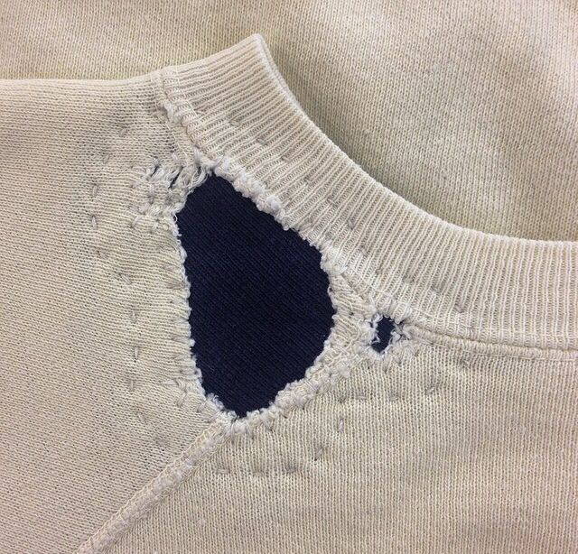 Collar repair   Stitch detail   Patched patch pullover   White and navy   Mending   by DARNED AND DUSTED