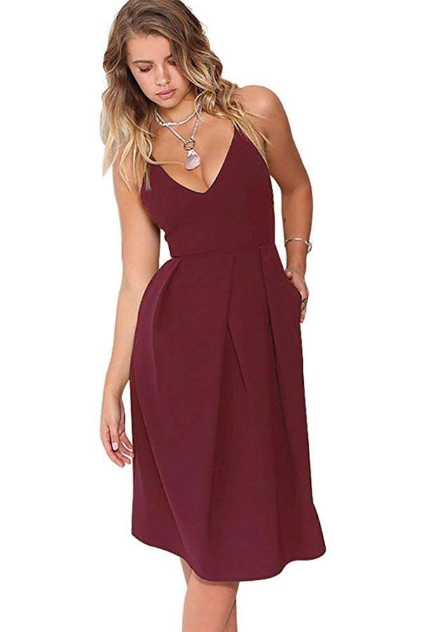 1c37b77cb62 V-Neck Spaghetti Straps Wedding Guest Dress with Pocket