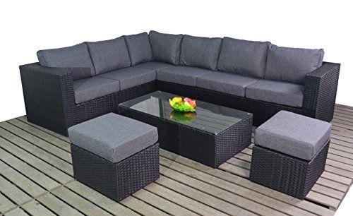 Port Royal Large Corner Sofa Set Black Rattan Garden Furniture Rattan Garden Furniture Outdoor Furniture Sale