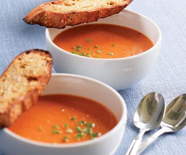 Classic Tomato Soup Recipe (Good with the sour cream and goat cheese garnish. I ended  up adding a lot more sugar and a little more salt than it called for.)