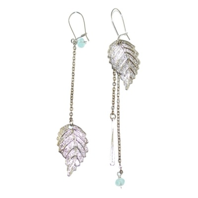 toodles BY TOODLEBUNNY Mismatched Leaf Earrings Silver